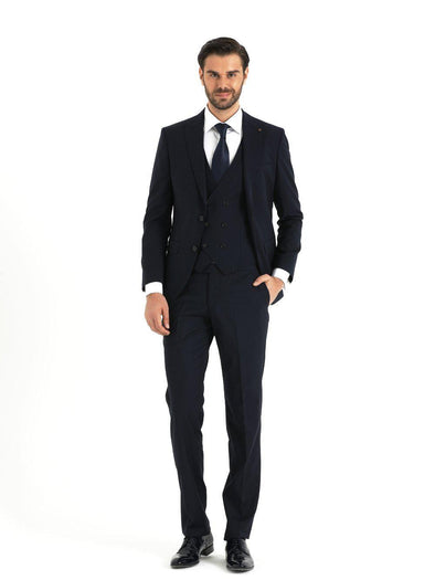 SAYKI Men's Armando Slim Fit Single Breasted Navy Suit with Vest