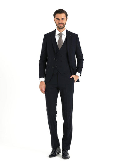 SAYKI Men's Slim Fit Navy Single Breasted Suit with Vest-SAYKI MEN'S FASHION