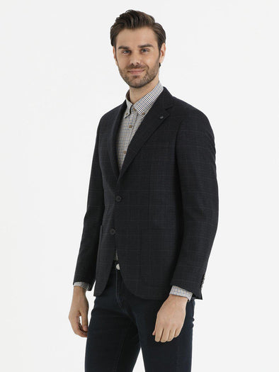 SAYKI Men's Slim Fit Navy Windowpane Wool Blazer