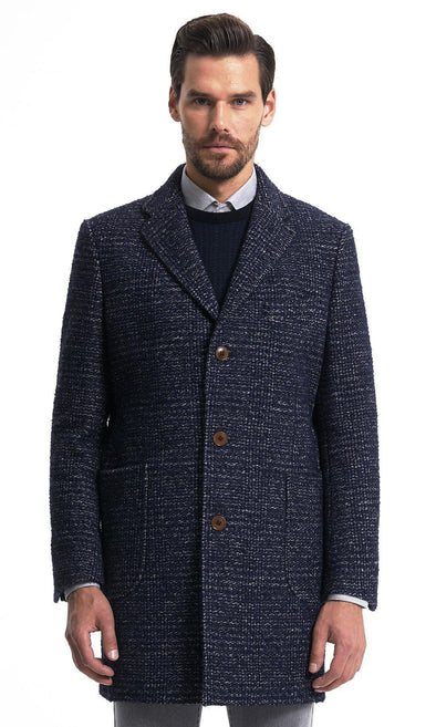 Sayki Mens Navy Overcoat Default