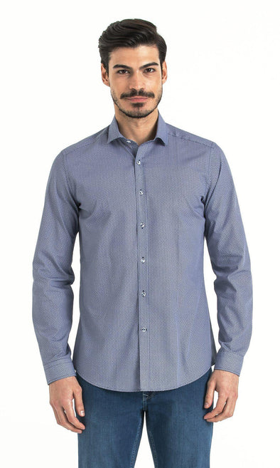 SAYKI Men's Slim Fit Birdseye Navy Cotton Shirt