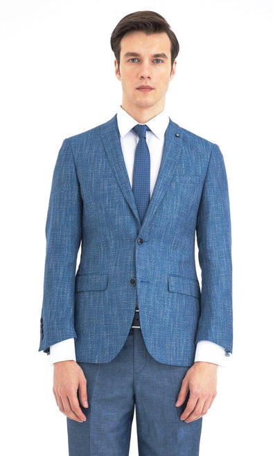 SAYKI Men's Blue Slim Fit Single Breasted Blazer