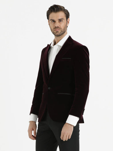 SAYKI Men's Slim Fit Single Breasted Burgundy Blazer-SAYKI MEN'S FASHION