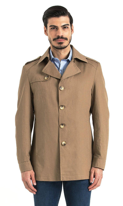 SAYKI Men's Round Collar Beige Jacket