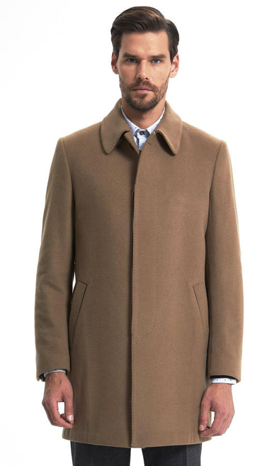 Sayki Mens Camel Overcoat Default