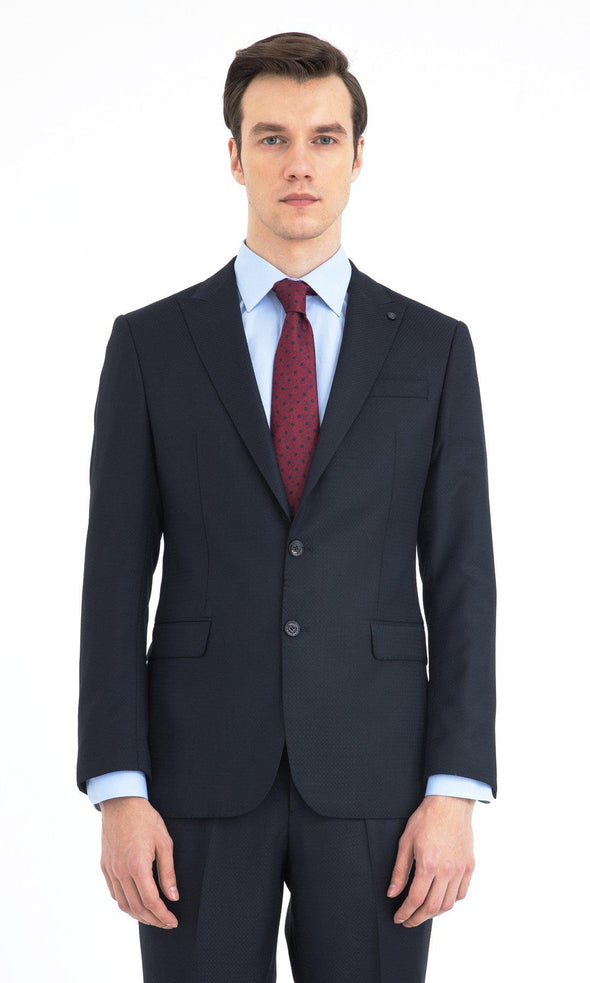 SAYKI Men's Slim Fit Navy Single Breasted Suit