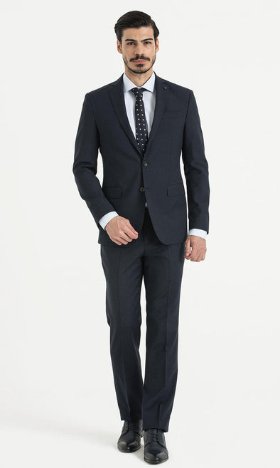 SAYKI Men's Slim Fit Birdseye Double Breasted Navy Suit-SAYKI MEN'S FASHION