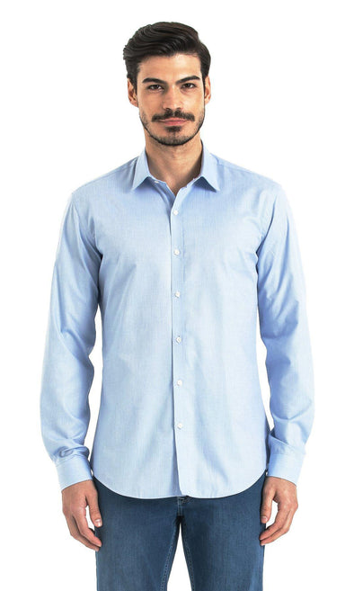 SAYKI Men's Slim Fit Blue Polka Dot Cotton Shirt