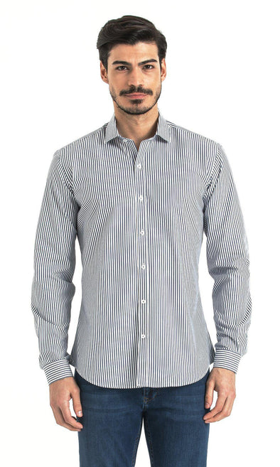 SAYKI Men's Slim Fit Stripe Navy Cotton Shirt