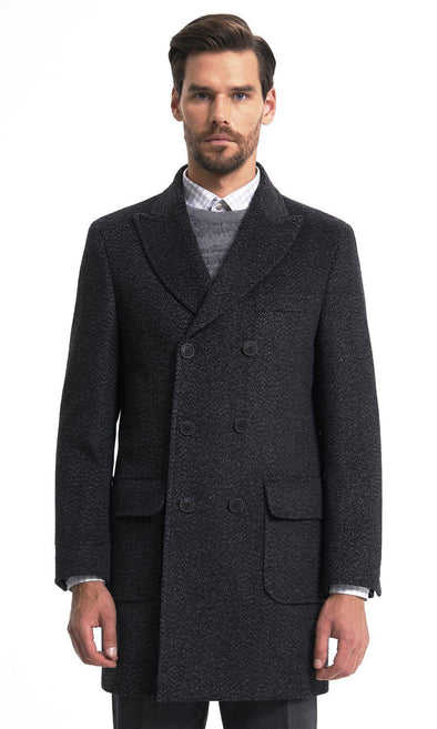 Sayki Mens Double Breasted Grey Overcoat Default