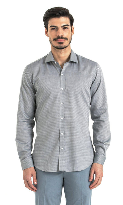 SAYKI Men's Slim Fit Houndstooth Grey Cotton Shirt
