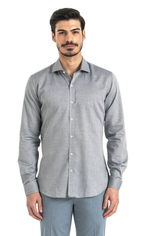 Slim Fit Houndstooth Grey Shirt