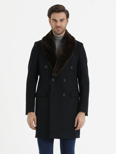 SAYKI Men's Fur Collar Navy Blue Coat