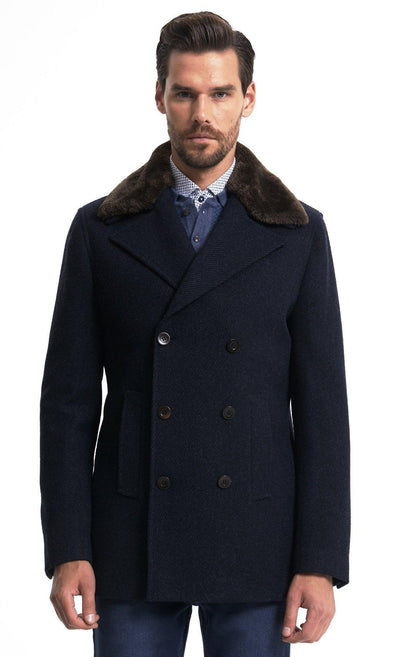 Sayki Mens Navy Wool Coat Default