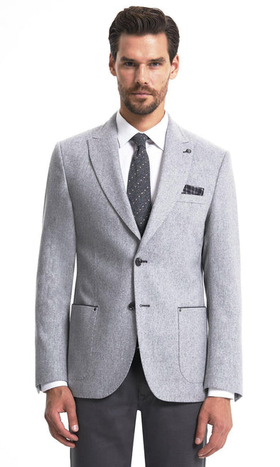 Sayki Mens Single Breasted Dynamic Fit Grey Blazer Default