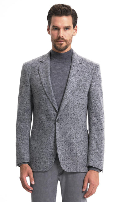 SAYKI Men's Single Breasted Dynamic Fit Grey Blazer-SAYKI MEN'S FASHION
