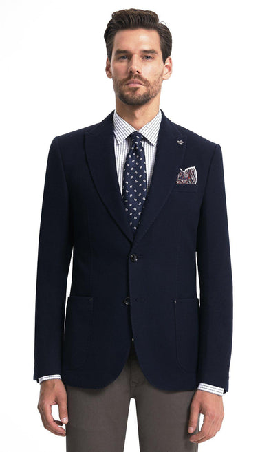 SAYKI Men's Single Breasted Dynamic Fit Navy Cotton Blazer-SAYKI MEN'S FASHION