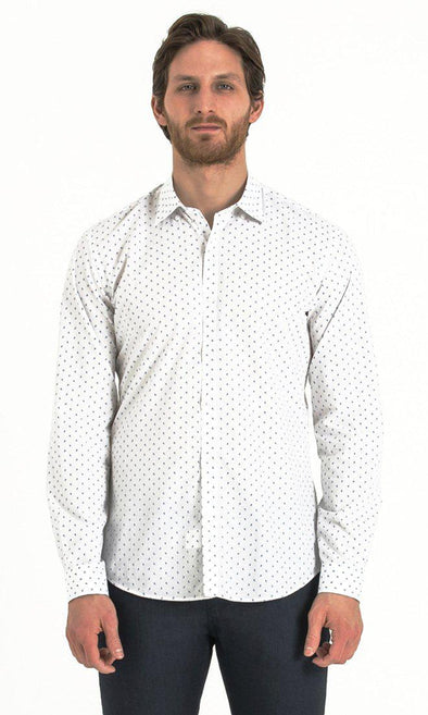 SAYKI Men's White Polka Dot Slim Fit Cotton Shirt