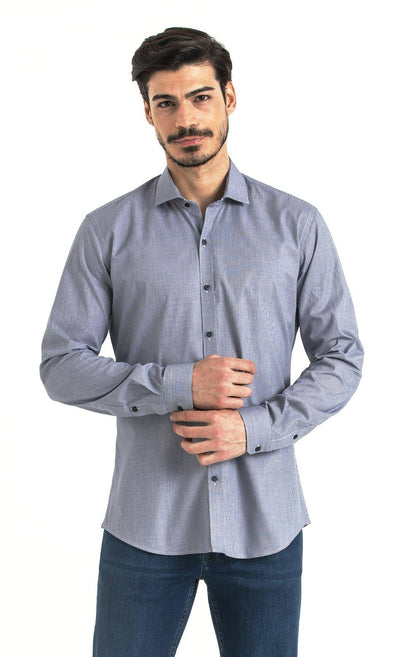 SAYKI Men's Slim Fit Blue Cotton Shirt