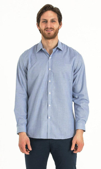 SAYKI Men's Blue Slim Fit Cotton Shirt-SAYKI MEN'S FASHION