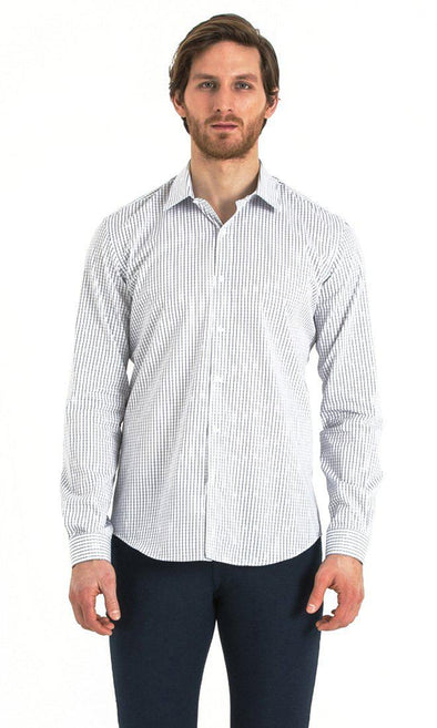 SAYKI Men's White Slim Fit Checkered Cotton Shirt