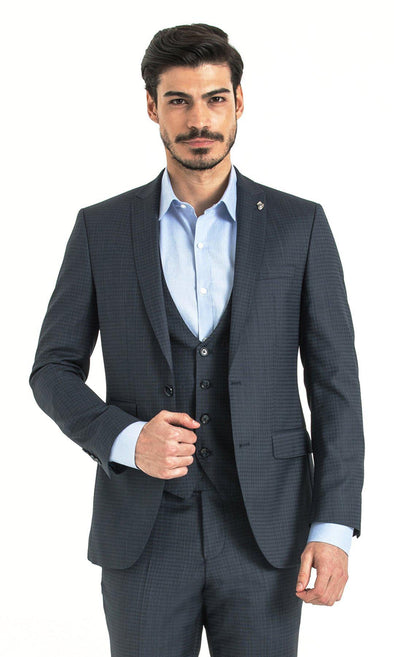 SAYKI Men's Slim Fit Navy Houndstooth Suit with Vest-SAYKI MEN'S FASHION