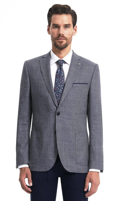 Sayki Mens Single Breasted Dynamic Fit Navy Grey Wool Blazer Default
