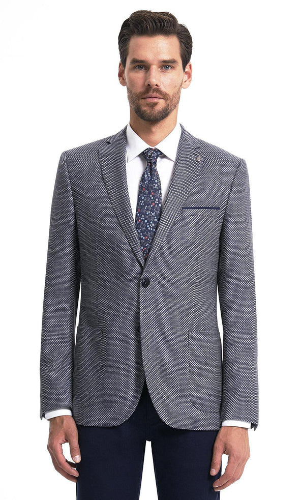 SAYKI Men's Single Breasted Dynamic Fit Navy Grey Wool Blazer-SAYKI MEN'S FASHION