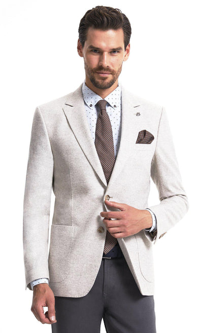 Sayki Mens Single Breasted Dynamic Fit Light Beige Blazer Default