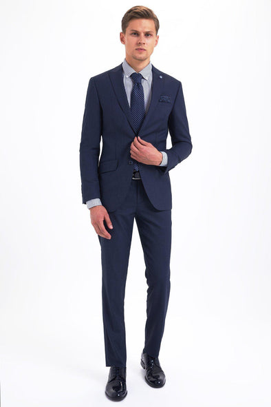 Sayki Mens Slim Fit Navy Suit Default