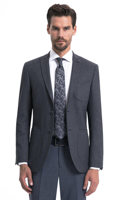 Sayki Mens Single Breasted Slim Fit Grey Blazer Default