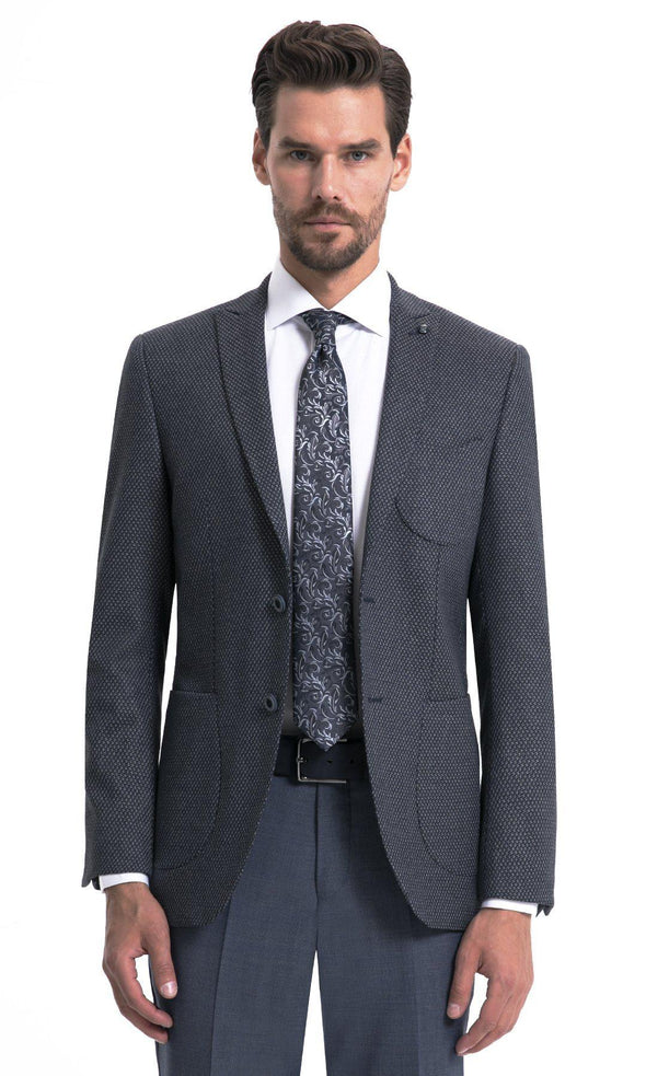 SAYKI Men's Single Breasted Slim Fit Grey Blazer-SAYKI MEN'S FASHION