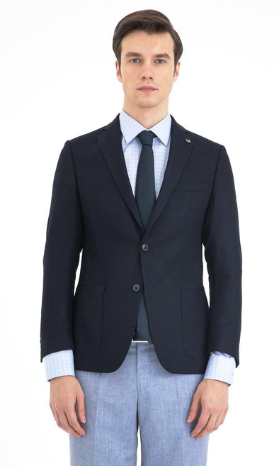 SAYKI Men's Dark Navy Slim Fit Single Breasted Wool Blazer