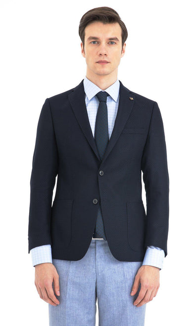 SAYKI Men's Slim Fit Navy Blue Wool Single Breasted Blazer