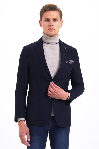 Sayki Mens Slim Fit Navy Wool Blazer Default