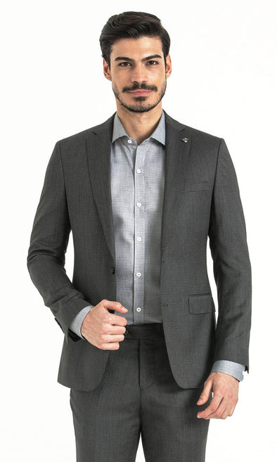 SAYKI Men's Slim Fit Houndstooth Grey Suit