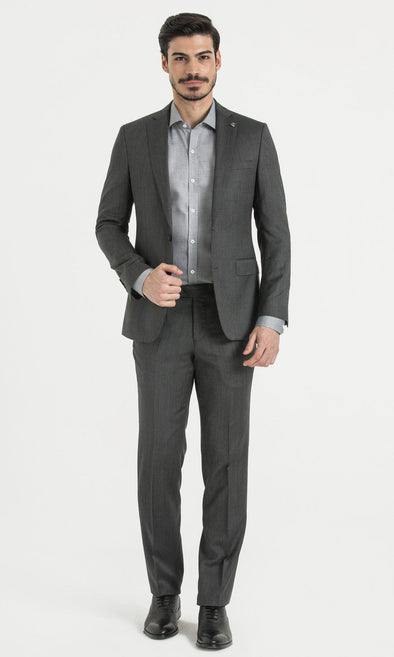 SAYKI Men's Slim Fit Houndstooth Grey Suit-SAYKI MEN'S FASHION