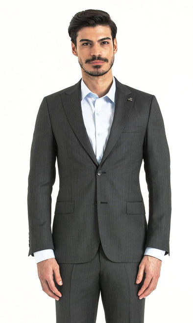 SAYKI Men's Slim Fit Birdseye Grey Suit