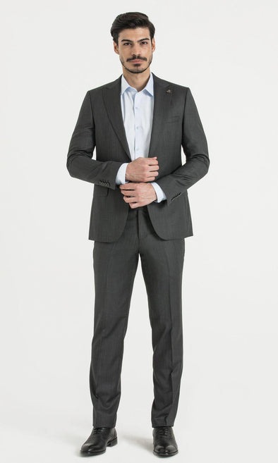 SAYKI Men's Slim Fit Birdseye Grey Suit-SAYKI MEN'S FASHION