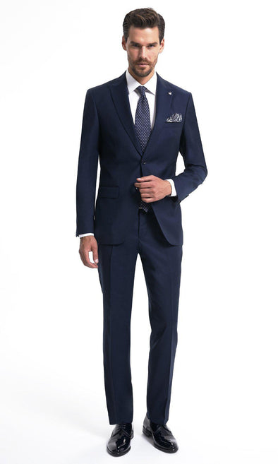 SAYKI Men's Single Breasted Slim Fit Navy Wool Suit-SAYKI MEN'S FASHION