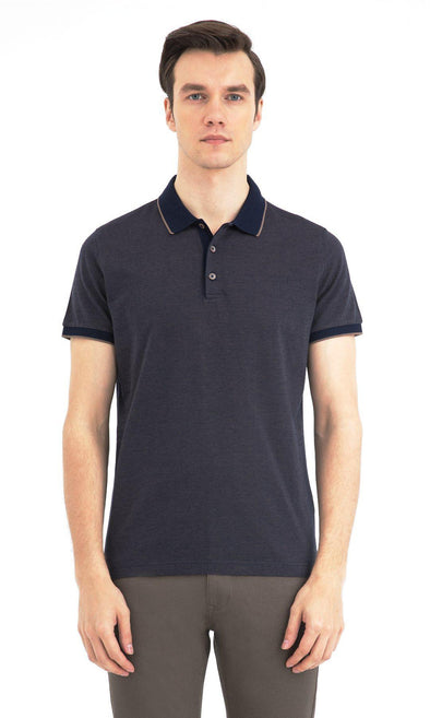SAYKI Men's Mercerized Cotton Polo Neck T-Shirt