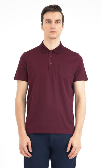 SAYKI Men's Regular Fit Mercerized Polo Neck Cotton T-Shirt-SAYKI MEN'S FASHION