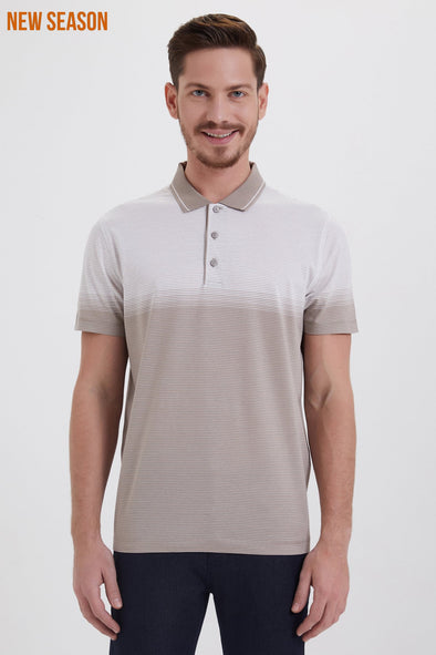 SAYKI Men's Slim Fit Polo Neck Beige Cotton T-shirt