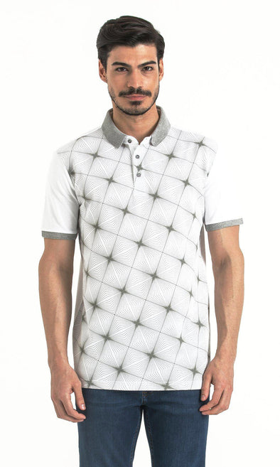 SAYKI Men's Patterned White-Grey Polo T-Shirt