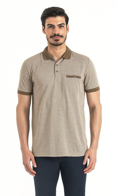 SAYKI Men's Camel Ecru Jacquard Polo T-Shirt-SAYKI MEN'S FASHION