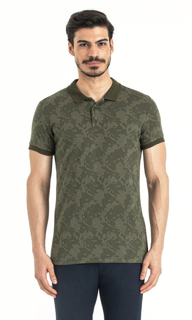 SAYKI Men's Patterned Khaki Polo T-Shirt