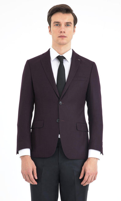 SAYKI Men's Burgundy Slim Fit Single Breasted Blazer