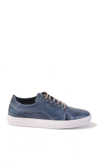SAYKI Men's Eva Leather Blue Sneakers