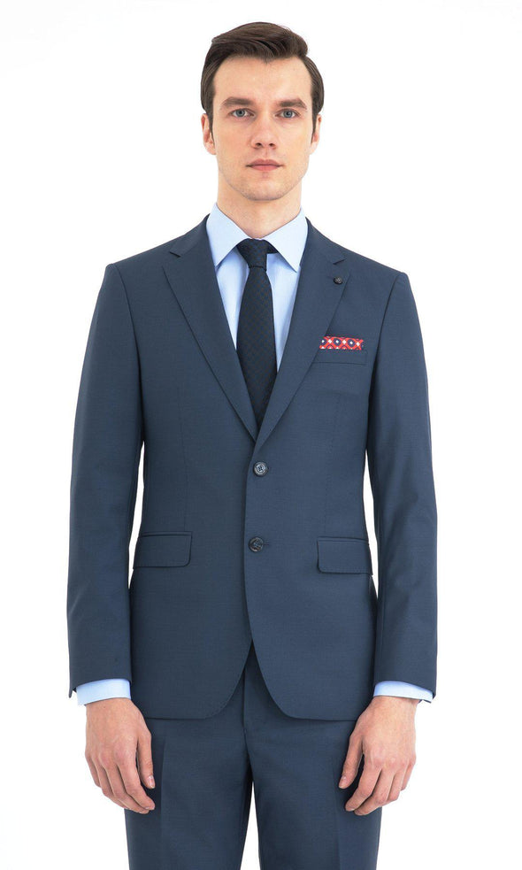 SAYKI Men's Slim Fit Petrol Blue Double Breasted Suit