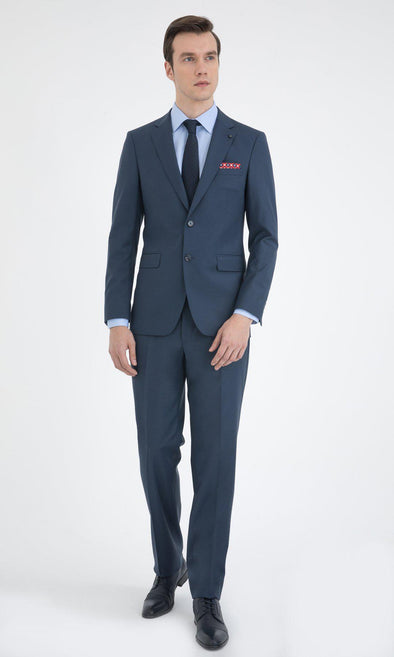 SAYKI Men's Slim Fit Petrol Blue Double Breasted Suit-SAYKI MEN'S FASHION